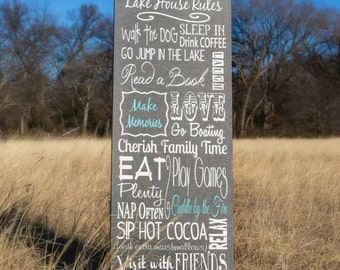 Family Lake House Rules on Wood or Canvas, Personalized Family Cabin Rules Sign, Personalized Family Name Sign Meyr