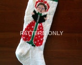 Printed Pattern Only Hand Knitted Caroler Christmas Stocking