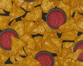 Top Nosh Tortilla Chips and Salsa Tossed on Black premium cotton fabric from Dan Morris for RJR fabrics