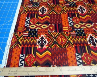 Mesa Verde Southwest Red/Rust/Gold/Brown Indian Blanket Patch premium cotton fabric from Fabri-Quilt