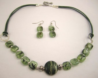 Clearance Sale! Green Quartz and Leather Necklace Earring set green and silver necklace Tourmalinated quartz gemstone and leather under 25