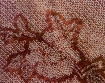 Silk shibori haori (a kimono jacket) - multicolored dusty roses with flower pattern
