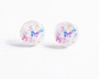 Butterfly Stud Earrings Colored Earrings Pastel Jewelry Mini Butterfly Earrings Gift For Her Mom