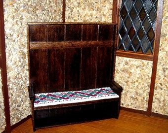 Settle, Celtic Cushion, Medieval Dollhouse Miniature1/12 Scale, Jacobean Finish, Hand Made in the USA