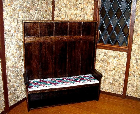 Settle with Celtic Cushion, Medieval Dollhouse Miniature 1/12 Scale, Hand Made