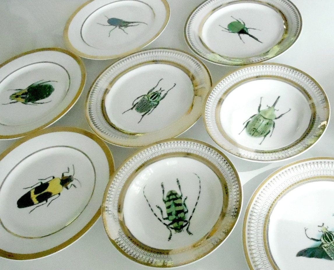 ... funky dishes custom plates custom dinnerware custom porcelain custom tableware customized tablewaresilver dinnerware silver dishes silver plates & SALE - 3 Gold Porcelain Bug/Insect Dinner Plates 10.5\