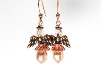 Copper Christmas Angel Earrings, Elegant Rose Gold Pearl Drop Earrings, Peach Pearl Angel Jewelry, Guardian Angel Jewelry Gift for Her