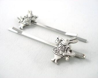 White Rabbit Wonderland Silver Bobby Pins Set of 2