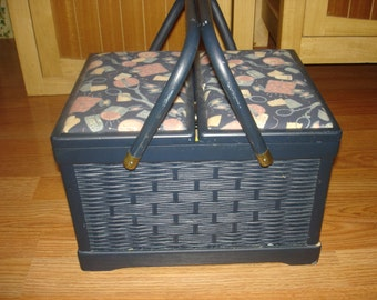 Vintage Blue Wood and Wicker Sewing Basket,Wooden Spools,Ornate Scissors & More