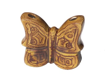 Vintage Ceramic Macrame Butterfly, 1970s, Brown