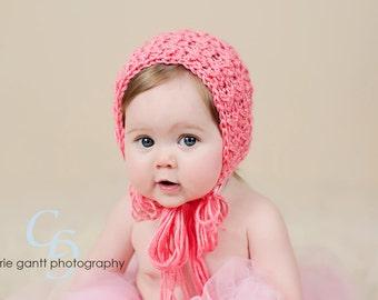 Newborn Bonnet, Newborn Baby Bonnet, Crochet Baby Hat, Original Design,Strawberry, Baby Bonnet, Photo Prop, Newborn Photography Prop