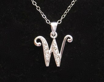 """925 sterling silver CZ Letter Initial """"W"""" pendant charm with necklace chain, personalized monogram necklace"""