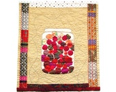 Kitchen Art, Textile Art,  Art Quilt, samba plum, wall hanging, Home Decor
