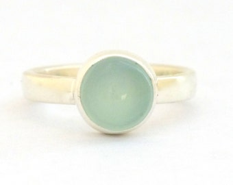 Aqua Blue Chalcedony Ring in Sterling