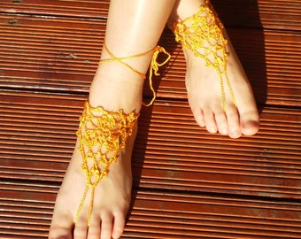 SALE Crochet Yellow Barefoot Sandals, Nude shoes, Foot jewelry, Wedding,  Lace, Sexy, Yoga, Anklet , Bellydance, Steampunk, Beach Yellow