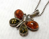 "BALTiC AMBER Butterfly Pendant Vintage Sterling Silver Ball Chain 16"" NOS nature Chic Garden Gift Sale"