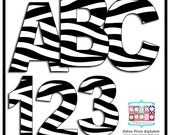 Zebra Print Digital Alphabet and Number Clipart - Animal Print Letters INSTANT DOWNLOAD - Zebra Print Numbers