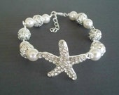Starfish Bracelet,Rhinestone Starfish Bracelet,Swarovski Pearls,Pearl Rhinestone Starfish Bracelet, Beach Nautical Wedding Bracelet