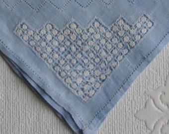 Vintage Handkerchief - Vintage Bridal Wedding Hankie - White Drawn Thread Work on Pale Blue - Hemmed Edges - Something Blue