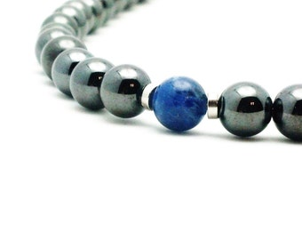 Magnetic Therapy Peace & Harmony Sodalite Hematite Magnetic Therapy CHOKER Custom Sized Men women, pet jewelry Wellness Health