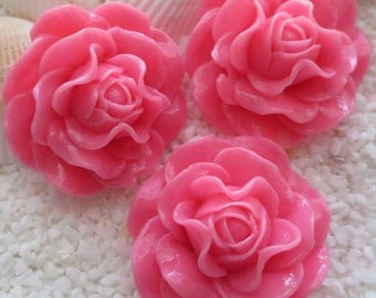Resin Ruffle Style Flower Cabochon - 31mm -  Rose Pink - 3 pcs