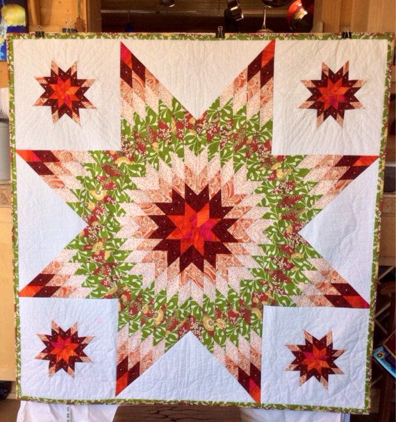 Quilt Pattern Radiant Star : Items similar to Radiant Star pattern wall hanging, white, red, green, square 54x54