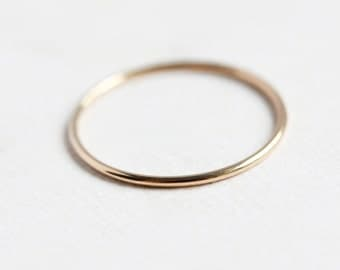 Thin round 14k gold ring, solid stacking ring, eco friendly, yellow gold band, thin gold band, smooth gold ring, size 4 to 9