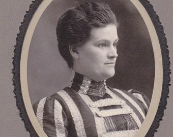 Stripes in Lace- 1800s Antique Photograph- Victorian Woman- Profile Portrait- Old Cabinet Photo- Paper Ephemera