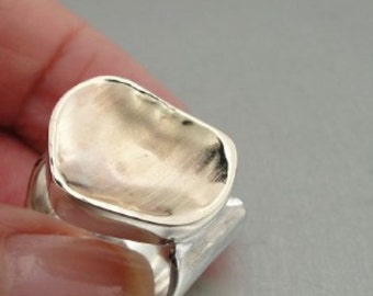 Organic handcrafted Brushed Gold Silver Ring 7 (I r143)