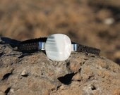 White and Black Striped Dichroic Hemp Bracelet