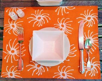 Modern Orange and Aqua Print Placemat Nadine Westcott Handmade on Nantucket Becky's Squiggle Original Design Whimsical and Chic