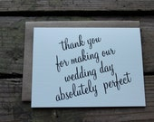 Vendor or Wedding Party Thank You Cards with Envelopes / Chic / Elegant/ Classic Stationery / Set of 10