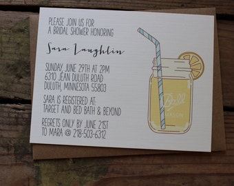 Rustic, Mason  Jar, Shower Invitation Card, Bridal Shower, Baby Shower, Country, Garden or Outdoor Theme, Customized