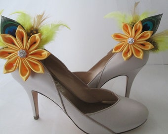 Yellow Wedding Shoe Clips, SunFlower Shoe Clips, Peacock Shoe Clips, Yellow Bridal Shoe Accessories, Wedding Shoes, Country-Rustic Bride