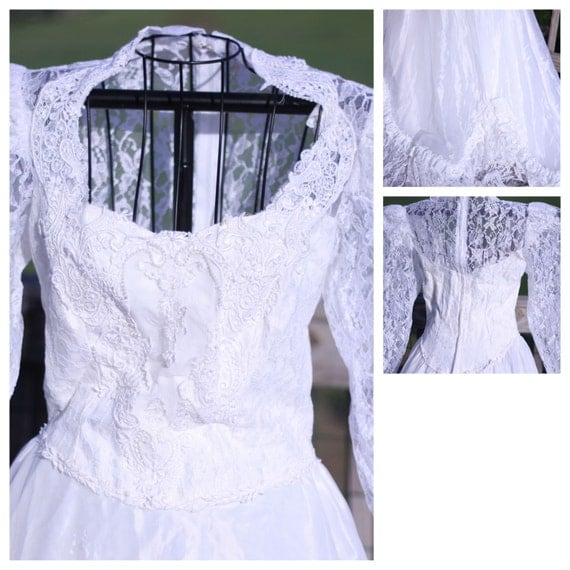 Jcpenney Wedding Dresses: Vintage JCPenney Wedding Dress With Veil Size 7/8