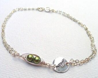 Peas in a pod Bracelet,Two Peas In A Pod Sterling Silver Bracelet,Hand Stamped Bracelet,Layering Bracelet,friendship bracelet,sister gift