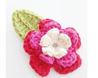 Crochet Flower and Leaf Applique PDF Pattern - Instant Download