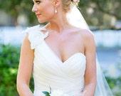 Bridal Veil Pencil Edge Cascading Chapel Length Wedding Veil