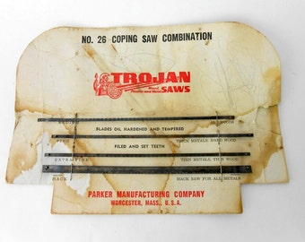 vintage Trojan coping saw blades vintage Trogan hack saw blades new old stock 4 new coping saw blades Trojan No 26 carpentry saw blades