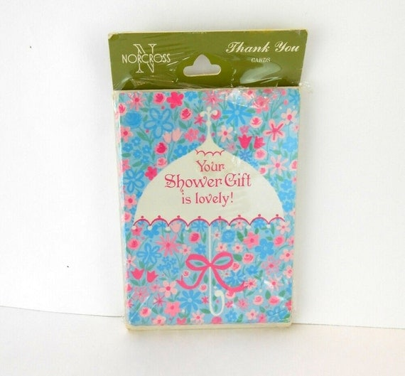 vintage shower gift thank you notes floral umbrella shower thank you