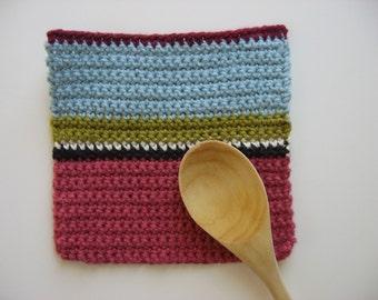 color block cotton pot holder 1940s colors