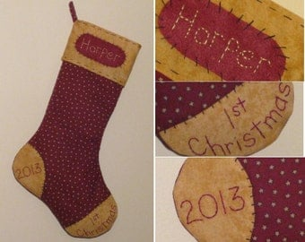 Personalized Baby's First Christmas Stocking - Maroon with Stars - Gold Cuff,Toe, & Heel