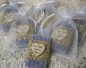 rustic wedding favors, bridal shower favors soaps, dark lavender soaps with sheer bags, 30 mini soaps, organic, handmade soap, personalized