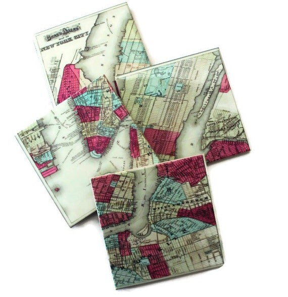 Unique Wedding Gifts Nyc : New York City Map_Hosuewarming Gift_Map Coaster Set_Gifts
