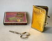 Vintage 1960's Gold Lame Travel Sewing Kit in Box