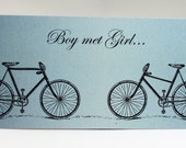 Bicycle Wedding Invitation - Postcard Style, Rustic Wedding Invitation, Vintage Wedding Invitation, Recycled Paper, Organic Ink