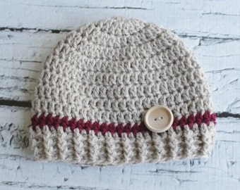 Crochet Hat With Wooden Button. Tan and Maroon