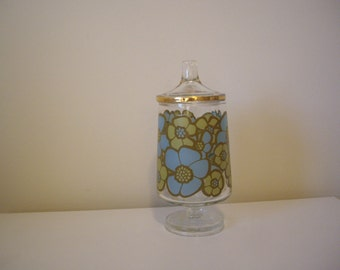 Vintage, flowered glass container with lid, retro, bathroom container, floral glass jar with lid