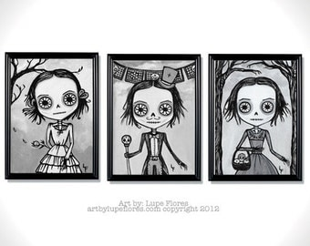 Sofia Print Sets Day of the Dead sugar skull 5x7 by Lupe Flores