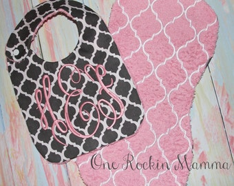 8x14 - 8x12 Bib Burp Cloth ( quatrefoil)  In The Hoop Design INSTANT DOWNLOAD